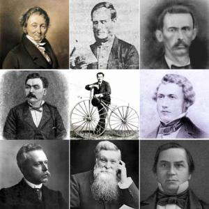 Retrato de los grandes nombres de la invención de la bicicleta.