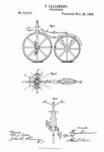 Planos del velocípedo Bone Shaker de Pierre Lallement.