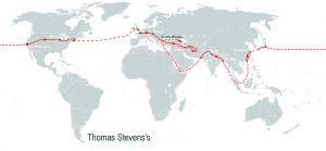 Thomas Stevens, vuelta al mundo en bicicleta.